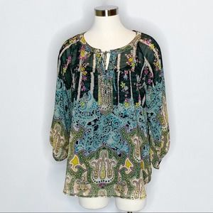 Anthro Fig & Flower Mixed Print Long Sleeve Top